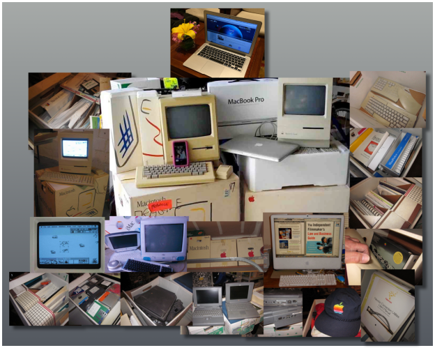 My collection of Macs, all the way back to Mac 1 in 1984. I've been getting new Mac almost on the Moore's Law schedule, with chip density doubling every 18 months while manufacturing costs stay flat.